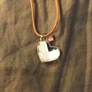 Swarovski Crystal Heart & Butterfly Cord Necklace